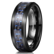 8mm - Unisex or Men's Tungsten Wedding Bands. Black Ring with Blue Carbon Fiber Inlay