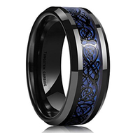mens tungsten wedding bands blue celtic knot, mens tungsten ring blue and black celtic