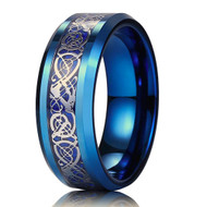 mens tungsten wedding bands blue celtic knot, mens tungsten ring blue and silver celtic