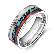 8mm - Unisex or Men's Titanium Wedding Bands. Silver and Tri Color - Titanium Ring with Turquoise, Antler and Wood Inlay. Comfort Fit Light Weight