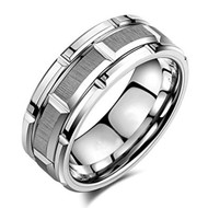 mens tungsten wedding bands silver brick, mens tungsten ring silver brick pattern