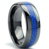 8mm - Unisex or Men's Ceramic Wedding Bands. Black Ring with Blue Carbon Fiber Inlay