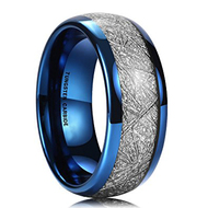 mens tungsten wedding bands blue, mens tungsten ring blue meteorite