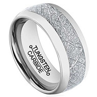 womens or mens tungsten wedding bands meteorite, womens and mens tungsten ring silver meteorite