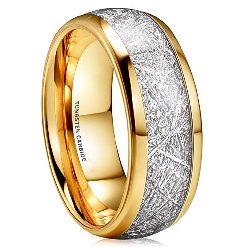 Men /& Lady Yellow Gold Tungsten carbide Shiny Domed Wedding Band ring