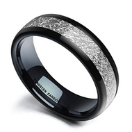 8mm - Unisex, Women's or Men's Tungsten Wedding Band. Black Tone Ring with Inspired Meteorite. Domed Top Tungsten Carbide Comfort Fit.