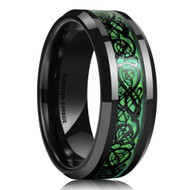 8mm - Unisex or Men's Tungsten Wedding Band. Black and Green Mens Celtic Wedding Band. Black Resin Inlay Hunter Green Celtic Knot Tungsten Carbide Ring