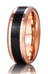 8mm - Unisex or Men's Tungsten Wedding Band. 18K Rose Gold Ring with Black Carbon Fiber Inlay