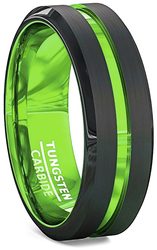 mens tungsten wedding bands green, mens tungsten ring black and green