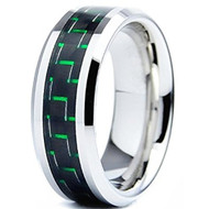 8mm - Unisex or Men's Tungsten Wedding Bands. Silver Ring with Green Carbon Fiber Inlay