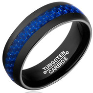 8mm - Unisex or Men's Tungsten Wedding Band. Black Ring with Blue Carbon Fiber Inlay