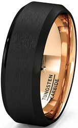 8mm - Unisex or Men's Tungsten Wedding Band. Black Matte Finish Tungsten Carbide Ring with Inside Rose Gold Beveled Edge. Mens Wedding Bands