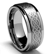 8mm - Unisex or Men's Tungsten Wedding Band. Silver Ring . Celtic Wedding Band. Laser Etched Celtic Knot Tungsten Carbide Ring.