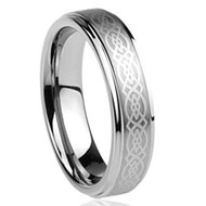 6mm - Unisex or Women's Tungsten Wedding Band. Celtic Wedding Band Silver with Laser Etched Celtic Knot. Tungsten Carbide Ring