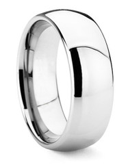 8mm - Unisex or Men's Tungsten Wedding Band. Silver Tone Domed Polished. Comfort Fit