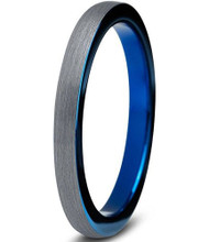2mm - Unisex or Women's Tungsten Wedding Bands. Gray and Inner Blue Comfort Fit Blue Round Domed Brushed Ring