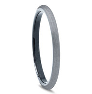 2mm - Unisex or Women's Tungsten Wedding Bands. Gray and Inner Black Plated Comfort Fit Brushed Ring
