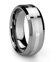 8mm - Unisex or Men's Tungsten Wedding Band Ring. Silver Polished Ring with Matte Finish Stripe. Comfort Fit.
