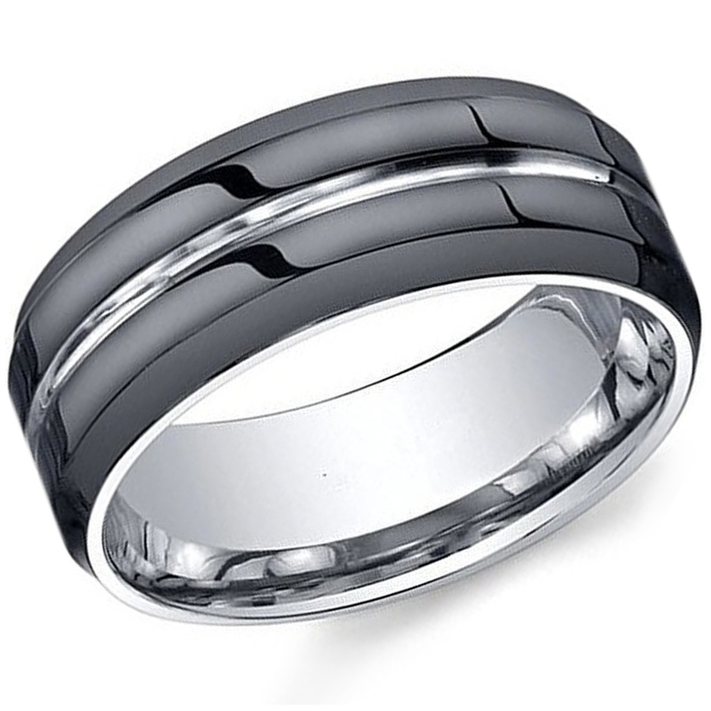 8 mm Mens Black Tungsten Carbide Rings Wedding Bands Two Tone Polished Finish