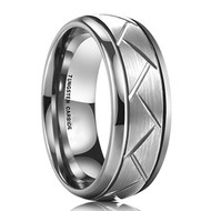 8mm - Unisex or Men's Tungsten Wedding Band. Silver Ring with Hatch Mark Grooves and Round Beveled Edges. Tungsten Carbide Comfort Fit