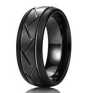 8mm - Unisex or Men's Tungsten Wedding Band. Black Ring with Hatch Mark Grooves and Round Beveled Edges. Tungsten Carbide Comfort Fit