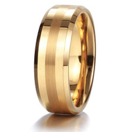 8mm - Unisex or Men's Tungsten Wedding Band. Gold Tone with Matte Finish Stripe. Comfort Fit