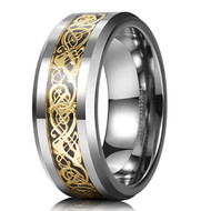 mens tungsten wedding bands gold celtic, mens tungsten ring silver and gold celtic