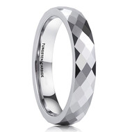 4mm - Women's Tungsten Wedding Band. Silver Tone Diamond Faceted High Polished Domed Tungsten Carbide Ring