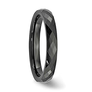 4mm - Women's Tungsten Wedding Band - Black Diamond Faceted High Polished Domed Tungsten Carbide Ring