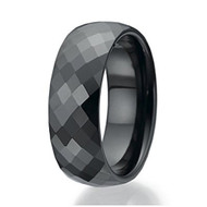 8mm - Unisex or Men's Tungsten Wedding Bands. Wedding Band. Black Diamond Faceted High Polished Domed Tungsten Carbide Ring.