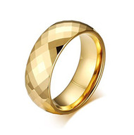 8mm - Unisex or Men's Tungsten Wedding Bands. Gold Diamond Faceted High Polished Domed Tungsten Carbide Ring