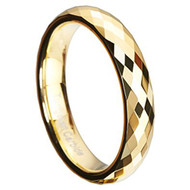 4mm - Women's Tungsten Wedding Band - Gold Diamond Faceted High Polished Domed Tungsten Carbide Ring