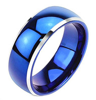 8mm - Unisex or Men's Tungsten Wedding Bands. Blue Two Tone with Silver Side Stripes. High Polish Comfort Fit Ring