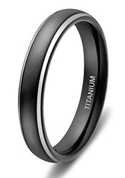 4mm - Women's Titanium Wedding Bands. Black Ring with Two Tone Silver Side Stripes. High Polish Finish. Comfort Fit Light Weight