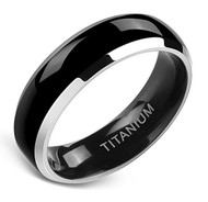 6mm - Unisex, Men's or Women's Titanium Wedding Bands. Black and Silver Two Tone Ring. High Polish Finish, Comfort Fit and Light Weight