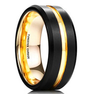 8mm - Unisex or Men's Tungsten Wedding Band. Black and 18K Yellow Gold. Matte Finish Tungsten Carbide Ring with Beveled Edge.