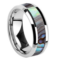 8mm - Unisex or Men's Tungsten Wedding Bands. Silver Multi Color Rainbow Abalone Shell Inlay Ring (Organic colors)
