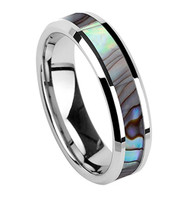 6mm - Unisex or Women's Tungsten Wedding Bands. Silver Band and Multi Color Rainbow Abalone Shell Inlay Tungsten Carbide Ring (Organic colors)