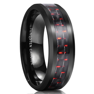 8mm - Unisex or Men's Tungsten Wedding Bands. Black Ring with Red Carbon Fiber Inlay. Tungsten Carbide