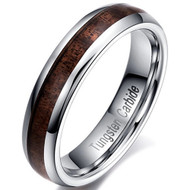 5mm - Unisex or Women's Wedding Bands. Tungsten Ring Wedding Band, Engagement Ring with Koa Wood Inlay. Comfort Fit