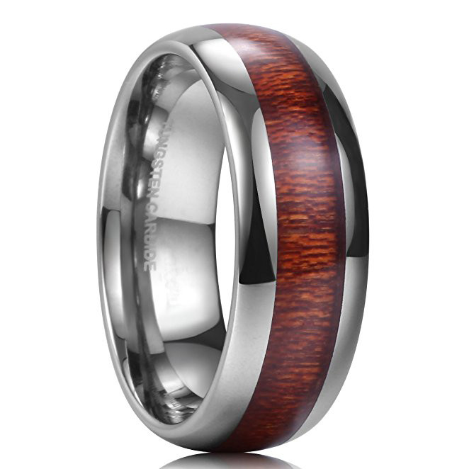 FREE SHIPPING CUSTOM Engraved 8mm Silver Tungsten Wedding Band Tungsten Ring Domed Edge Koa Wood and Turquoise Center Inlay Koa Wood Ring