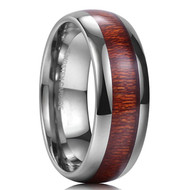 8mm - Unisex or Men's Tungsten Wedding Bands. Silver Tone with Koa Wood Inlay. Comfort Fit