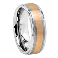 8mm - Unisex or Men's Tungsten Band. Duo Tone Silver and Gold Matte Finish Gold Stripe. Comfort Fit