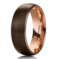 mens tungsten wedding bands brown, mens tungsten ring brown and rose gold