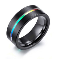 8mm - Unisex, Women's or Men's Tungsten Wedding Band. Rainbow Anodized Black Tungsten Carbide Wedding Engagement Rings