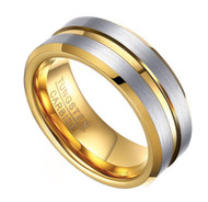 8mm - Unisex or Men's Tungsten Wedding Band. Gray Silver Tone with Yellow Gold Grooved and Beveled Edge. Matte Finish Tungsten Carbide Ring