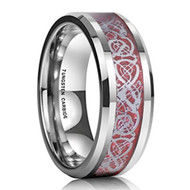8mm - Unisex or Men's Tungsten Wedding Band. Celtic Wedding Band - Silver Resin Inlay Red Celtic Knot Tungsten Carbide Ring