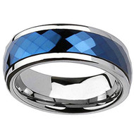 8mm - Unisex or Men's Tungsten Wedding Bands. Silver Rimmed Blue Diamond Faceted High Polished Domed Tungsten Carbide Ring.