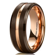 8mm - Unisex or Men's Tungsten Wedding Band. Brown Matte Finish Tungsten Carbide Ring with Rose Gold Beveled Edge