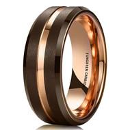 8mm - Unisex or Men's Tungsten Wedding Band. Brown Matte Finish Tungsten Carbide Ring with Rose Gold Beveled Edge